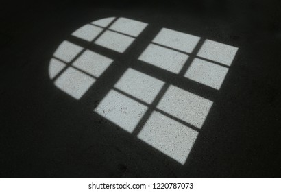 Light from window falling on dark floor