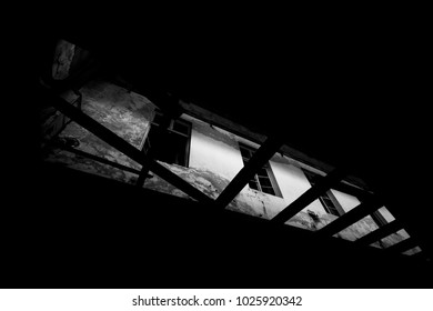 Light from windows. Abandoned sanatorium. Atmosphere of loneliness, fear and emptiness.