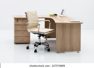light wood desk in the office