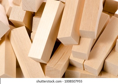 Light wooden block macro photo blurred background