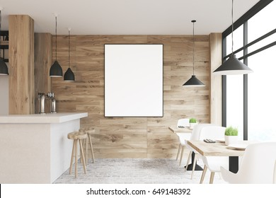 Light wooden cafe interior with square tables, white chairs, stools standing near a white bar and a framed vertical poster on a wall. 3d rendering, mock up