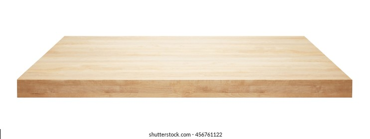 Light wooden table top isolated on white background.