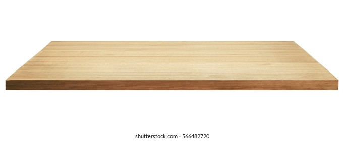 Light wooden tabletop or shelf isolated on white background.