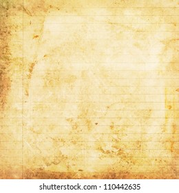 light yellowed grunge paper background texture with writing lines