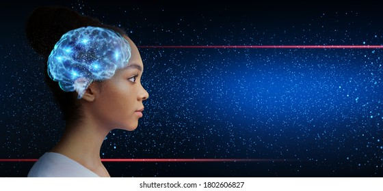 Light up your mind. Intelligent asian girl with illuminated brain looking at free space over galaxy background, panorama, collage