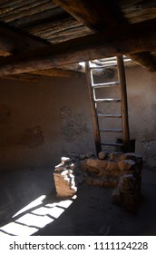 lightbeam in a reconstructed underground dwelling in Colorado