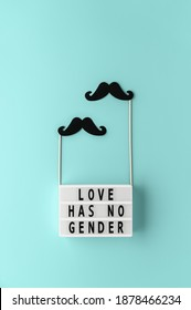 Lightbox with text LOVE HAS NO GENDER, black paper party accessories mustache on pastel cyan background. Concept Homosexuality, gay love. Top view, creative flat lay. Vertical orientation