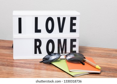lightbox with text I love Rome, Italy travel theme