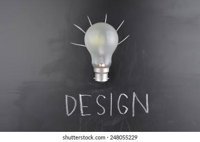 Lightbulb and blackboard