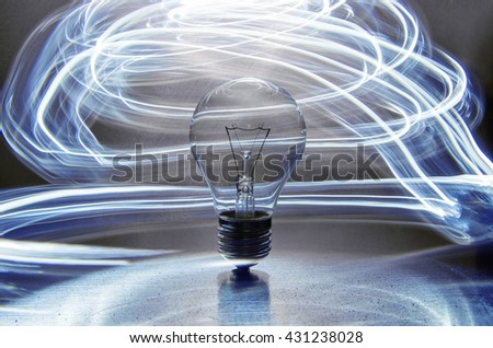 Lightbulb and blue lighting effects in the background