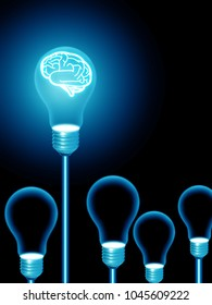 lightbulb brain .illustration