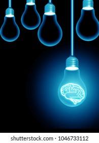 lightbulb brain illustration