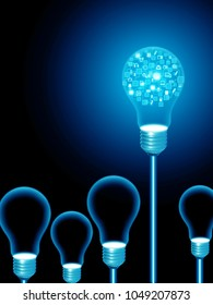 lightbulb brain , illustration