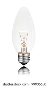 Lightbulb - Candle Shape Isolated on White Background with reflection. Switched ON