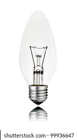 Lightbulb - Candle Shaped with Screw bottom and Reflection Isolated on White Background. Switched off