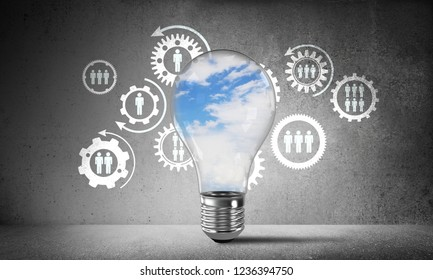 Lightbulb with cloudly skyscape inside placed against sketched social gear structure on wall. 3D rendering.