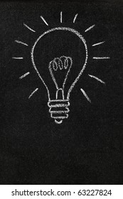 A lightbulb drawn on a chalkboard symbolizing ideas, inspiration and creativity with blank space for copy