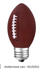 lightbulb with football inside isolated over white with a clipping path