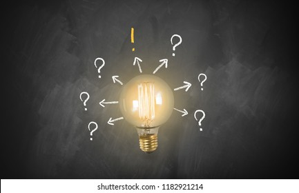 lightbulb in front of an blackboard symbolizing that an idea has been found