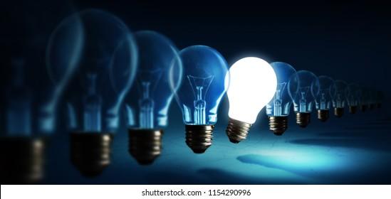 Lightbulbs on blue background, idea concept