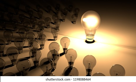 Lightbulbs placed around the glowing light bulb. The big lighbulb is glowing surounded by small lightbulbs, which are dead and shutdown. Representation of big energy consuption of bulbs.