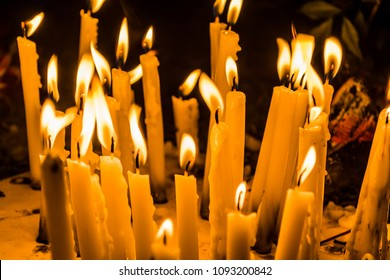 Lighted candles in cemetery during All Saint's Day