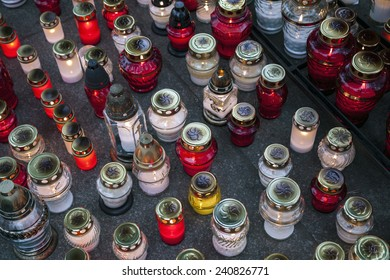 A lot of lighted candles on All Saints Day