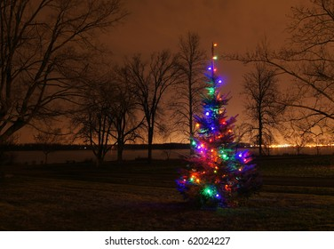 Lighted Christmas tree along a riverbank