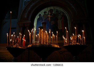 ?andles lighted in the church