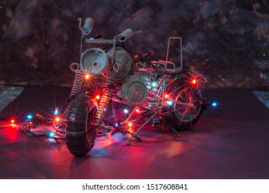 Lighted Up Motorcycle toy coloured background