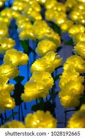 Lighted Yellow Flowers