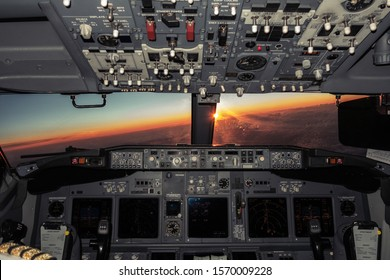 Lightening of airliner cockpit in dark. - Shutterstock ID 1570009228
