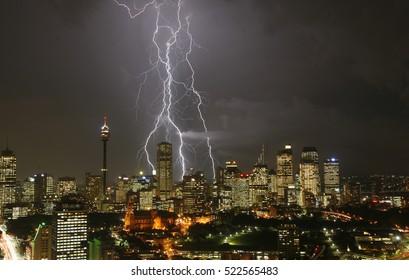 lightening over Sydney skyline at night