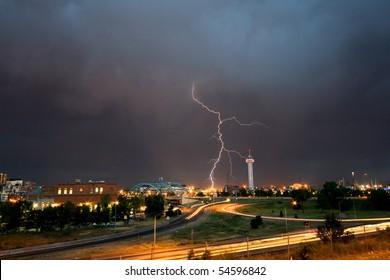 Lightening strike captured over Denver Colorado during a fierce spring storm.