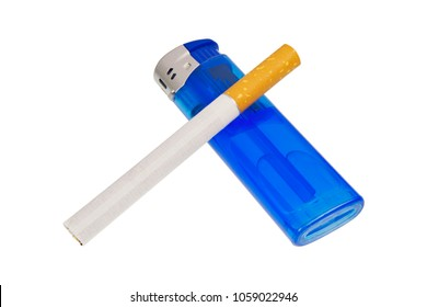 Lighter and cigarette isolated on a white background