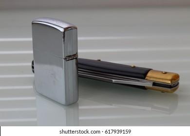 Lighter and knife