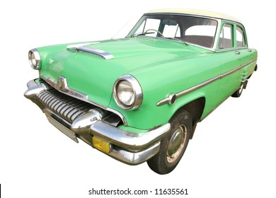 light-green american retro car 50's on white background, vintage