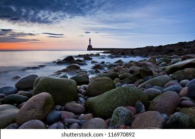 Lighthouse in Aberdeen- Scotland long exposure photo - panorama