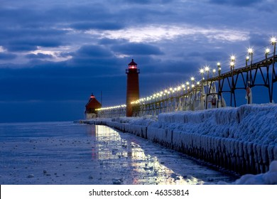the lighthouse after sunset