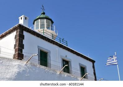 The lighthouse at Akrotiri in Santorini Island, Greece