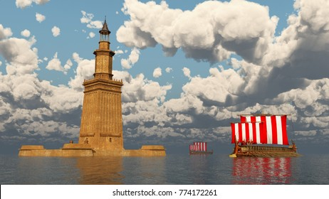 Lighthouse of Alexandria and ancient Greek warships Computer generated 3D illustration