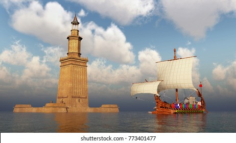 Lighthouse of Alexandria and ancient Roman warship Computer generated 3D illustration