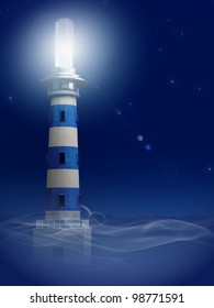 lighthouse with automotive lamp