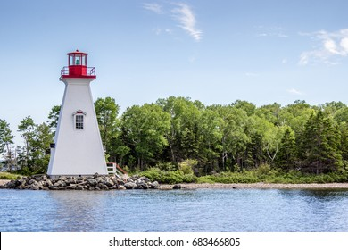 A lighthouse in Baddeck in Cape Breton, Nova Scotia, Canada