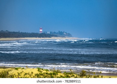 the lighthouse at the bay beach of sitapalem village.