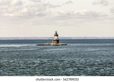 lighthouse in the bay near town of Orient, USA