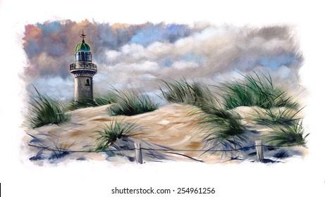 Lighthouse beach Dunes oil painting