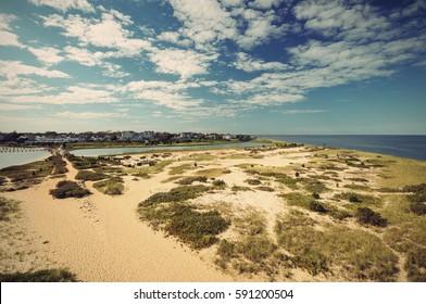 Lighthouse Beach in Edgartown, Martha's Vineyard, New England, Massachusetts, USA, vintage filtered style