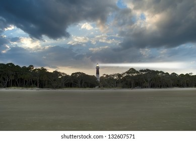 The lighthouse, beach, and forest on Hunting Island South Carolina