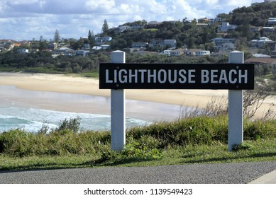 Lighthouse beach sign post in New South Wales coastal town of Port Macquarie in Australia.